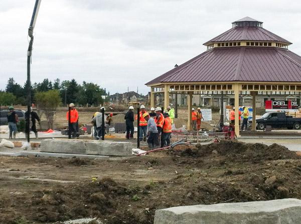 Caledon District Park pouring concrete