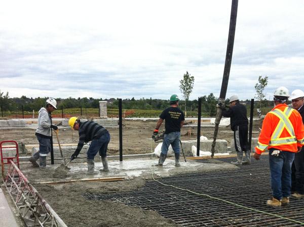 Caledon District Park pouring concrete - ice rink